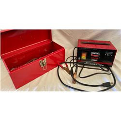 CENTURY BATTERY CHARGER & TOOL BOX W/ CONTENTS