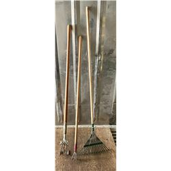 LOT OF 3 GARDEN TOOLS - RAKE, CULTIVATORS