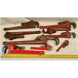 LOT OF 9 PIPE WRENCHES