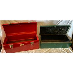 LOT OF 2  SMALL EMPTY METAL TOOLBOXES