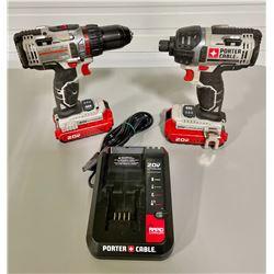 PORTER CABLE CORDLESS DRIVER SET - GOOD CONDITION