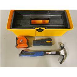 PLASTIC TOOL BOX W/ KUBOTA 25 FT TAPE MEASURE, MC HAMMER, STUD FINDER