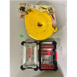 "2"" X 27' RATCHET STRAP & BOSCH BIT SET - NEW"