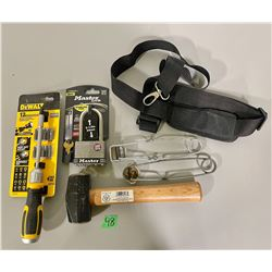 LOT OF 5 - STRIKERS, DEWALT RATCHET SCREWDRIVER, 2.5 LB HAMMER, SHOULDER STRAP, LOCK.