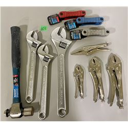 LOT OF HAND TOOLS - HAMMER, WRENCHES, VICE GRIPS, ALLEN KEYS