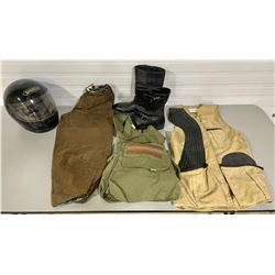 MENS SZ 11 REPLAY MOTORCYCLE RIDING BOOTS, M HELMET, S OILED COTTON PANTS, 2 X SHOOTING VESTS