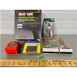 JOB LOT - HEAT GUN, PLIERS, TAPE MEASURE, MOLDING HEAD SET - MOST AS NEW