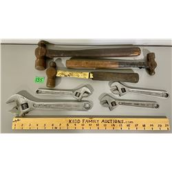 LOT OF 4 ADJ WRENCHES AND 3 HAMMERS