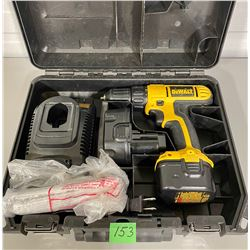 DEWALT CORDLESS DRILL, EXTRA BATTERY AND CHARGER IN CASE