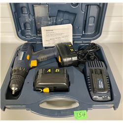 MC CORDLESS DRILL WITH EXTRA BATTERY AND CHARGER IN CASE