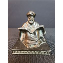Middle Eastern Man Reading Book Metal Figurine