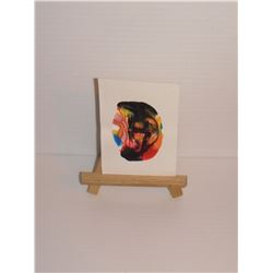 """peinture miniature ou petite par LangdonArt titrée Le Masque noir -ap. 2hx2 1/2"""" LangdonArt painting"""