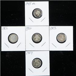 Group of (5) Canada Silver 10 cent - 1947ML,  1960, 1963, 1964, 1965