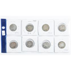 Group of (8) Canada 25 Cents 1906-1914 Era
