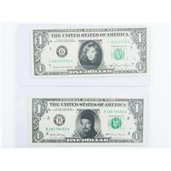 Lot (2) USA 1.00 Notes with Portraits