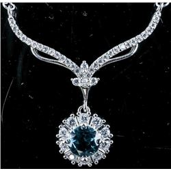 925 Sterling Silver Necklace, Round Cut Blue  Sapphire 1.11ct and 44 Natural 'CZ' 2.11ct  tw. TRRV: