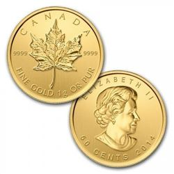 Royal Canadian Mint .9999 Fine Gold 50c Maple Leaf. Very Collectible. (Year Will Vary).