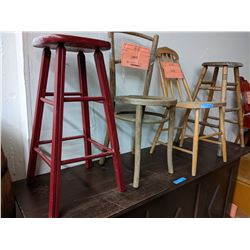 2 wooden stools and 2 small chairs (approx 3 to 4 ft tall)