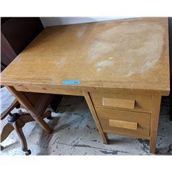 Vintage oak two drawer study desk with chair - approx 4x3