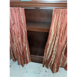 Vintage bookcase with curtains and  fabric