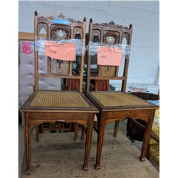 6 small dining chairs approximately 3 ft high 1920s oak inlaid chairs
