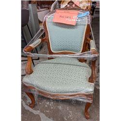 Blue vintage ornate armchair