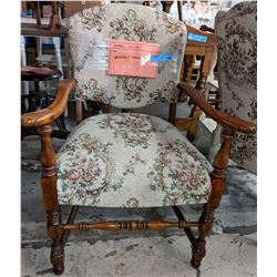 Colonial style upholstered armchair