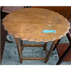 Barley twist oak lamp table