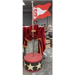 Carnival flagpole with base, penant