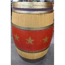 Wooden painted carnival barrel