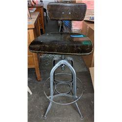 Wood and metal industrial stool