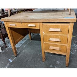 Wooden oak study desk with 3 doors 4 ft high 4 ft long