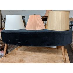 Kidney shaped ottoman and lampshades