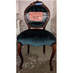 Vintage green velvet chair