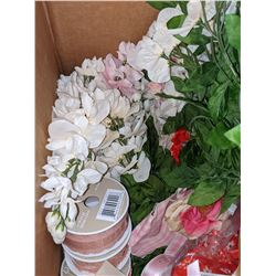 Box of silk plants, fabric flags and ribbons and miscellaneous items