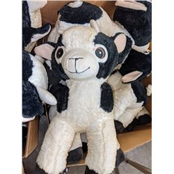 2 boxes of stuffed toys including goats and cows