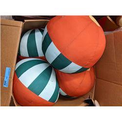 Box of stuffed beach ball toys