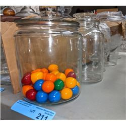 Glass candy jars approx 5