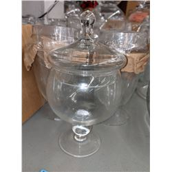 Glass candy jars approx 12