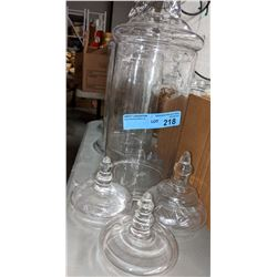 3 large glass candy jars