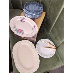 Assorted English plates Royal Doulton and glassware