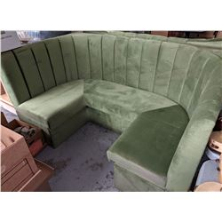 Olive green restaurant booth with table