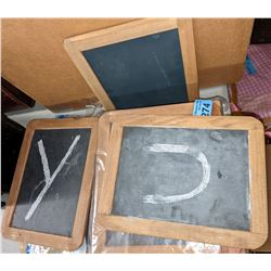 Approx 8 pieces of tambourine and chalkboards, anti carpet beaters