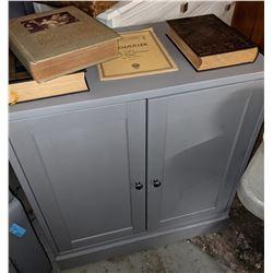 Antique Bibles and 2 door cabinet