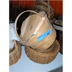 Shelf lot of baskets and misc props