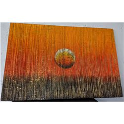 Very funky abstract painting approximately 4 ft wide and 2 ft high