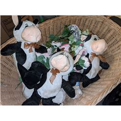 Wicker basket and stuffed toys