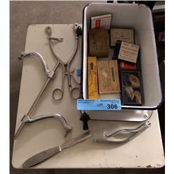 Vintage surgical equipment and assorted enamel lamp shades and trays