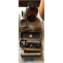 Antique flashlights and assorted items