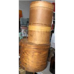 3 Round wood hat boxes / storage bins